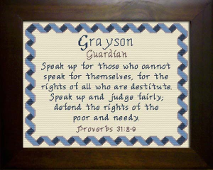 Name Blessings -  Grayson | Crafting | Cross-Stitch | Religious