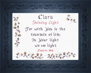 Name Blessings - Clara | Crafting | Cross-Stitch | Religious