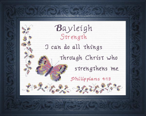 Name Blessings - Bayleigh 3 | Crafting | Cross-Stitch | Religious