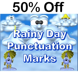 50% off rainy day punctuation powerpoint