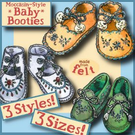 1940s felt baby to toddler booties moccasin style e-pattern 3 sizes