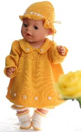 dollknittingpatterns - 0090d hanne - dress, pants, hat and socks