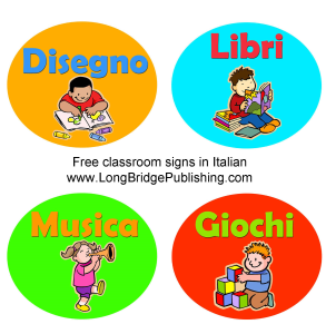 printable classroom signs in italian