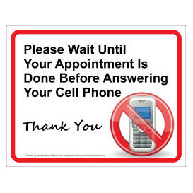 doctor office cell phone reminder wall sign