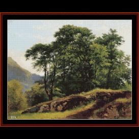 beech forest in switzerland - shishkin cross stitch pattern by cross stitch collectibles