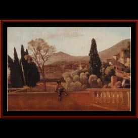 gardens of the villa at tivoli - correggio cross stitch pattern by cross stitch collectibles