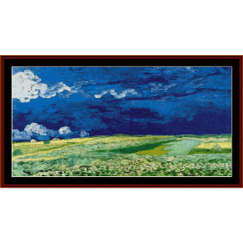 wheat field under clouded sky - van gogh cross stitch pattern by cross stitch collectibles