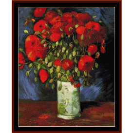 vase with red poppies - van gogh cross stitch pattern by cross stitch collectibles