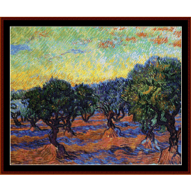 olive grove with orange sky - van gogh cross stitch pattern by cross stitch collectibles