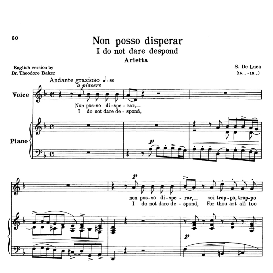 Non posso disperar, Medium-Low Voice in D Minor, G.M.Bononcini. Transposition for Low Voice. For Mezzo, Contralto, Baritone, Bass. Source: Anthology of Italian Song of the 17th and 18th centuries (Parisotti), Vol.2, Schirmer (1894). | eBooks | Sheet Music