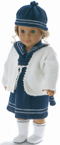 dollknittingpattern 0030d kirsten  dress, jacket, hat, socks, pant