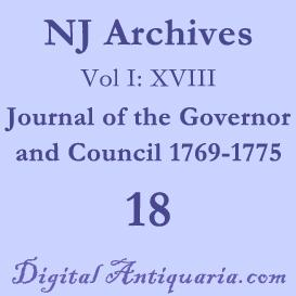 nj archives (i:xviii) journal of the governor and council 1769-1775