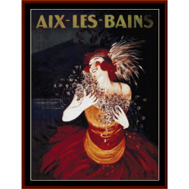 aix-les bains - vintage poster cross stitch pattern by cross stitch collectibles
