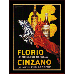florio cinzano - vintage poster cross stitch pattern by cross stitch collectibles