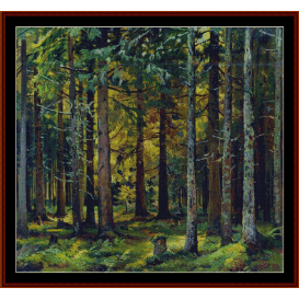 fir forest - shishkin cross stitch pattern by cross stitch collectibles