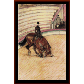 at the cirque, dressage - lautrec cross stitch pattern by cross stitch collectibles