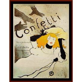 confetti - lautrec cross stitch pattern by cross stitch collectibles