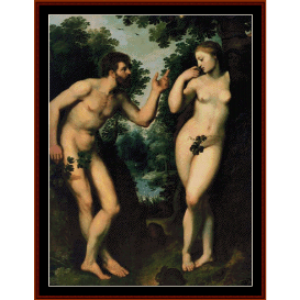 adam and eve - ruberns cross stitch pattern by cross stitch collectibles