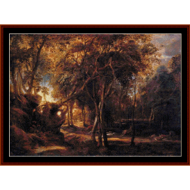 forest landscape at sunrise - rubens cross stitch pattern by cross stitch collectibles