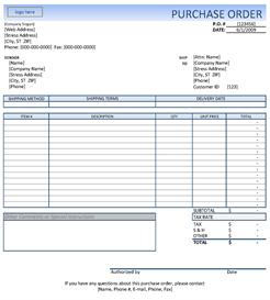 Quick Purchase Orders with this Excel Template | Other Files | Documents and Forms