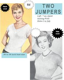 vintage knitting pattern for two great 1950's sweaters | eBooks | Arts and Crafts