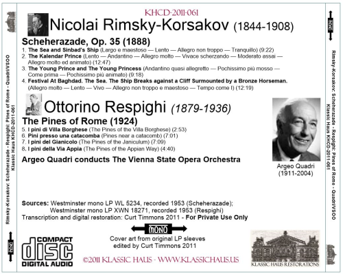 First Additional product image for - Rimsky-Korsakov: Scheherazade, Op. 35; Respighi: Pines of Rome - Vienna State Opera Orchestra/Argeo Quadri