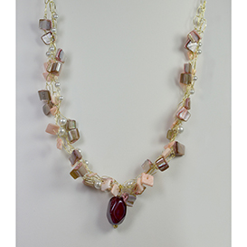 wire crocheted pearl and shell necklace