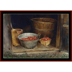 Smokehouse Strawberries - Americana cross stitch pattern by Cross Stitch Collectibles | Crafting | Cross-Stitch | Wall Hangings
