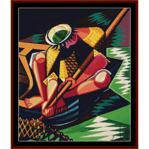 Fisherman Tapestry - Almada Negreiros cross stitch pattern by Cross Stitch Collectibles | Crafting | Cross-Stitch | Wall Hangings