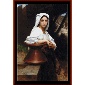italian girl drawing water - bouguereau cross stitch pattern by cross stitch collectibles