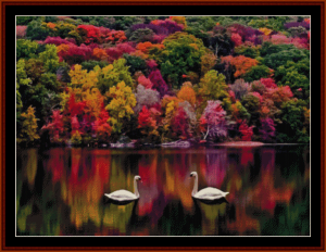 geese on a lake - nature cross stitch pattern by cross stitch collectibles