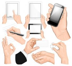 vectorlib rf (standard license): big set of hands. vector illustration