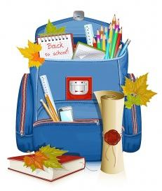 vectorlib rf (standard license): back to school! vector illustration of school bag with education objects