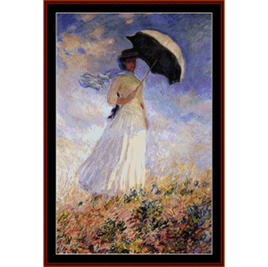 woman with parasol - monet cross stitch pattern by cross stitch collectibles