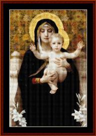 virgin of the lilies - bouguereau cross stitch pattern by cross stitch collectibles