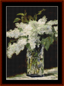 lilacs in a vase - manet cross stitch pattern by cross stitch collectibles