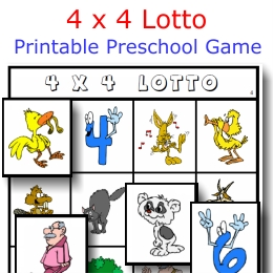 4 x 4 lotto printable game