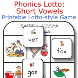 phonics lotto: short vowels