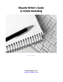 resume writer's guide to article marketing special report