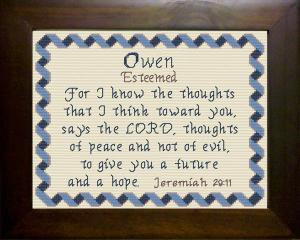 Name Blessings -  Owen | Crafting | Cross-Stitch | Religious
