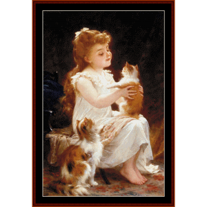 Playing with Kitty - Emile Munier cross stitch pattern by Cross Stitch Collectibles | Crafting | Cross-Stitch | Wall Hangings