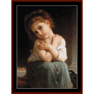 chilly girl - bouguereau cross stitch pattern by cross stitch collectibles