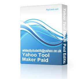 Yahoo Tool Maker Paid Edition | Software | Developer