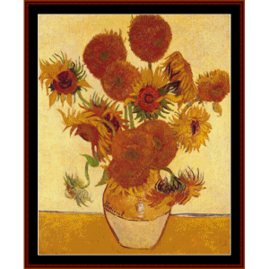 sunflowers - van gogh cross stitch pattern by cross stitch collectibles