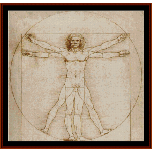 Vitruvian Man- DaVinci cross stitch