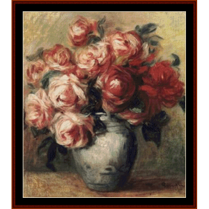 nature morte aux roses - renoir cross stitch pattern by cross stitch collectibles