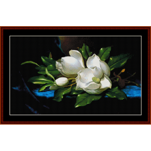 magnolia on blue cloth - heade cross stitch pattern by cross stitch collectibles