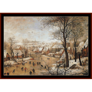 winter landscape - bruegel cross stitch pattern by cross stitch collectibles