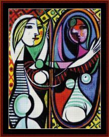 girl and mirror - picasso cross stitch pattern by cross stitch collectibles