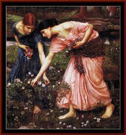 gather ye rosebuds - waterhouse cross stitch pattern by cross stitch collectibles